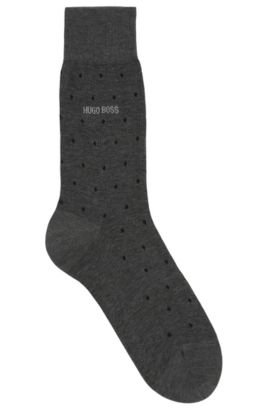 Polka-dot patterned socks in mercerised cotton, Black