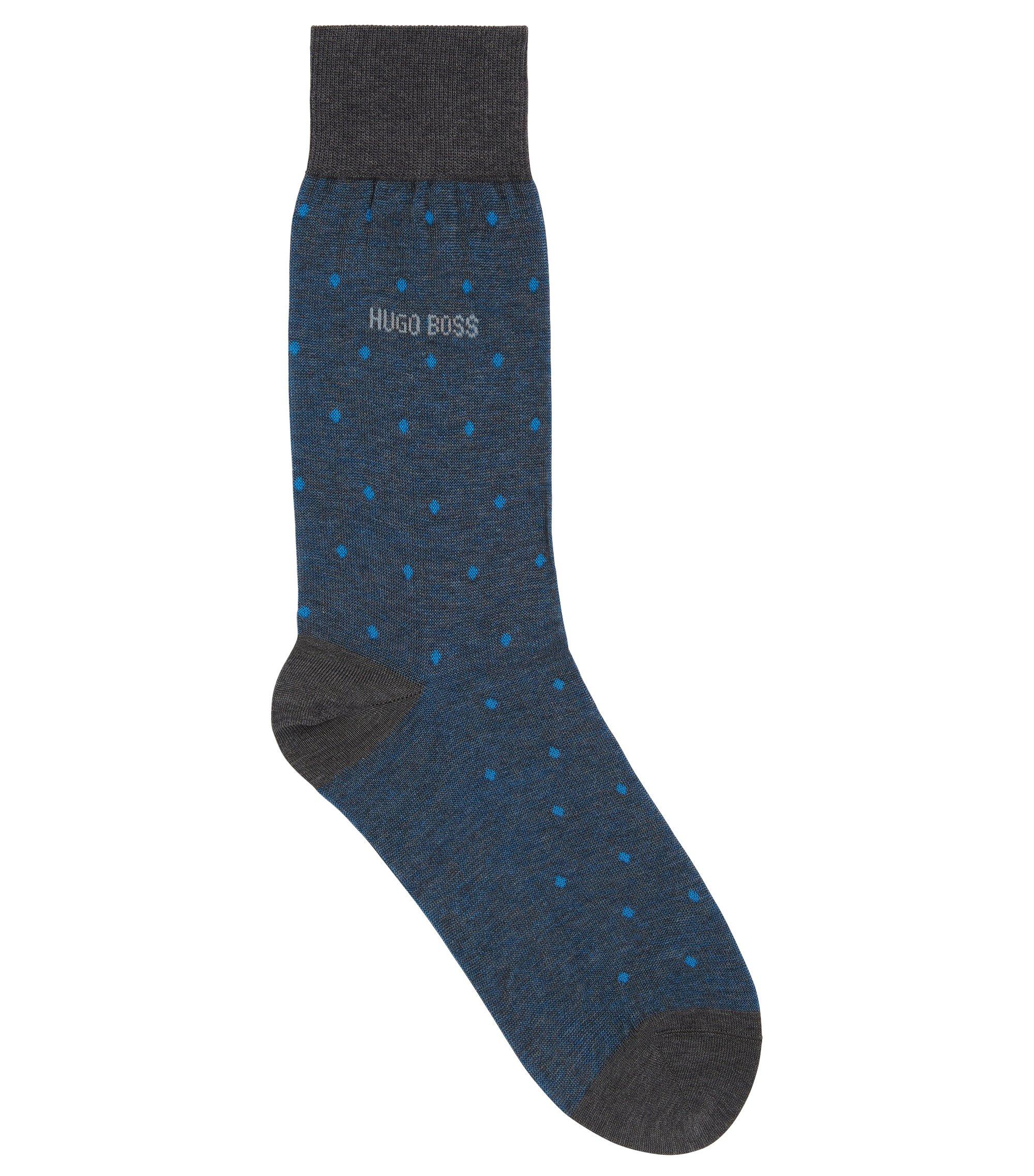 Calcetines de fantasía con lunares en algodón mercerizado, Azul