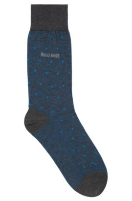 Polka-dot patterned socks in mercerised cotton, Blue