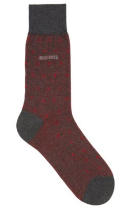 Polka-dot patterned socks in mercerised cotton, Red