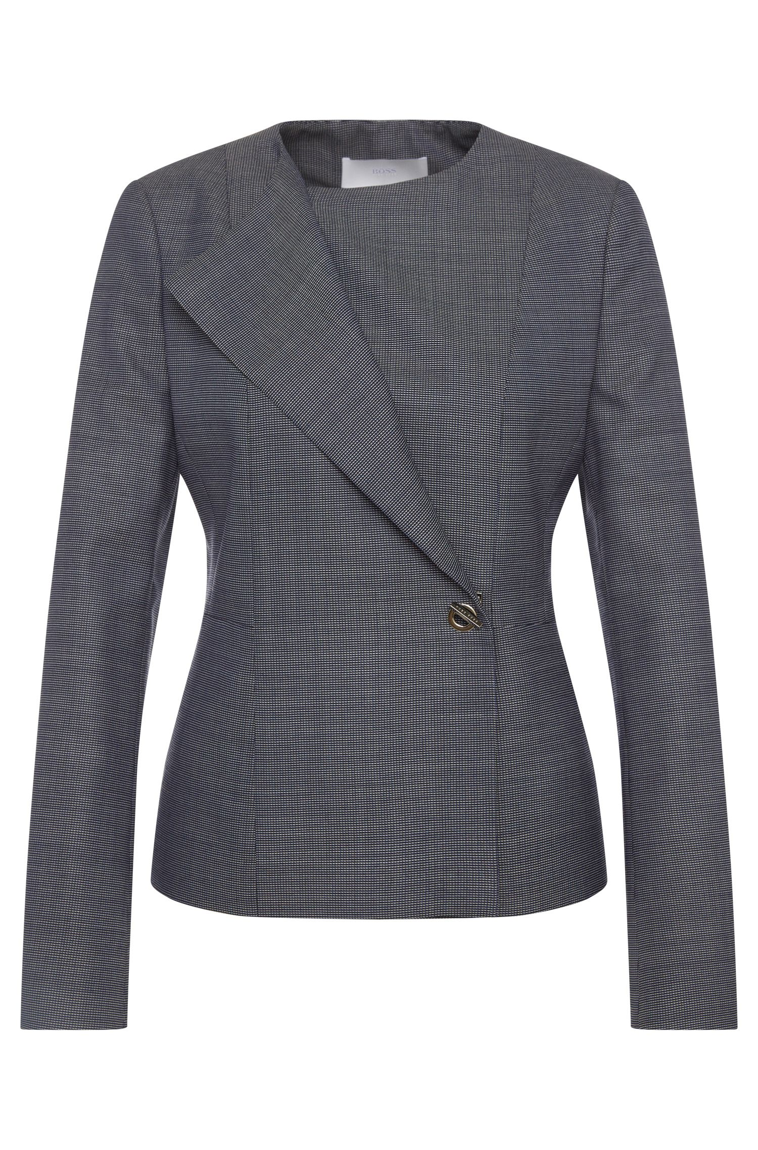 Finely patterned blazer in stretch new-wool blend with viscose: 'Jelanisa'