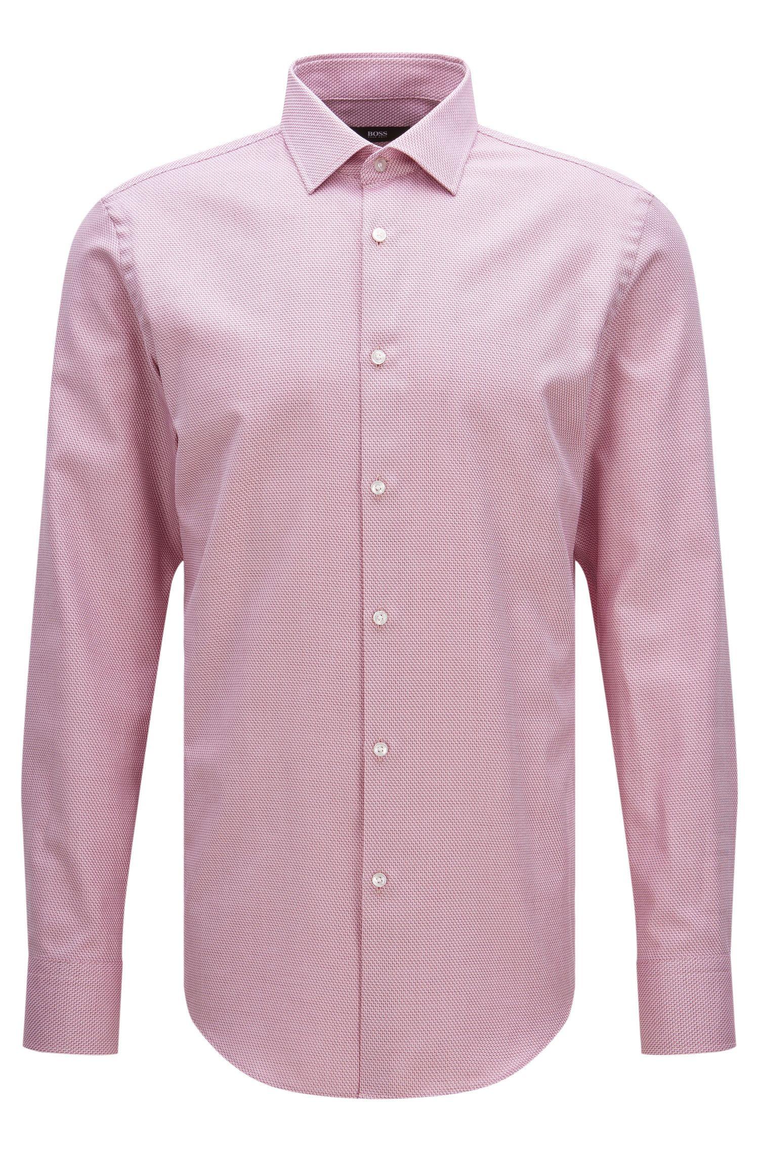 Slim-fit overhemd van katoen met een fijn dessin: 'Jenno'