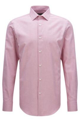 Slim-fit overhemd van katoen met een fijn dessin: 'Jenno', Pink