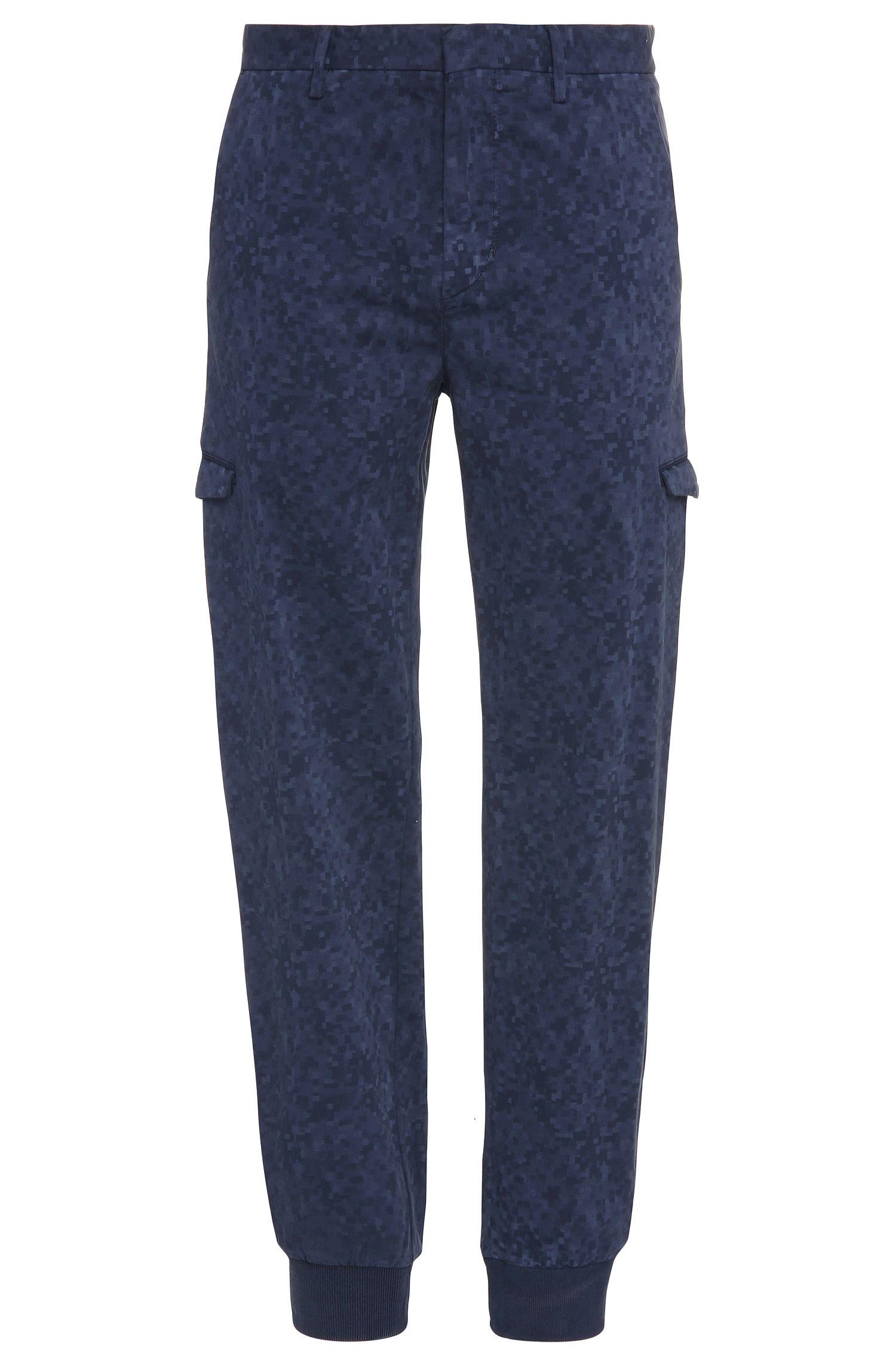 Gemusterte Slim-Fit Cargo-Hose aus elastischer Baumwolle: ´Loomes-3-D`