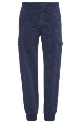 Pantaloni cargo slim fit a disegni in cotone elasticizzato: 'Loomes-3-D', Blu scuro