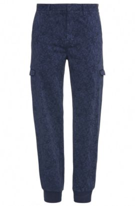 Gemusterte Slim-Fit Cargo-Hose aus elastischer Baumwolle: ´Loomes-3-D`, Dunkelblau
