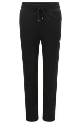 Pantalon molletonné en coton mélangé pourvu de zips aux couleurs contrastantes: «Long Pant», Noir