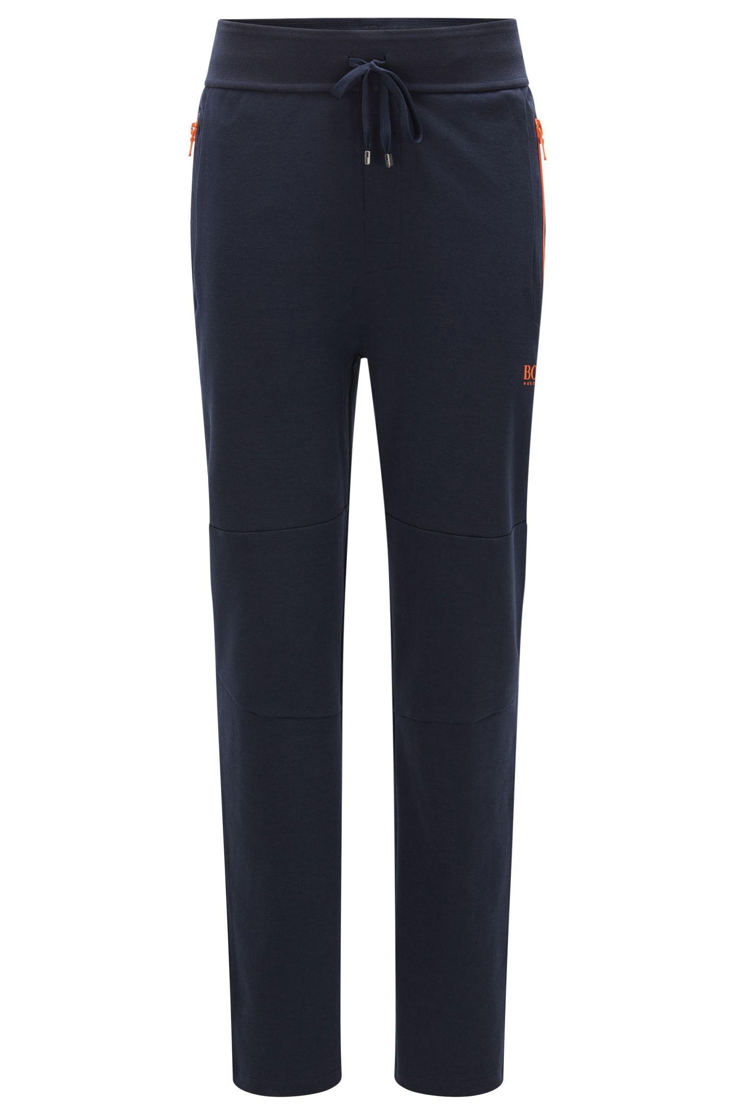 Sweatbroek van een katoenmix met contrasterende ritssluitingen: 'Long Pant'