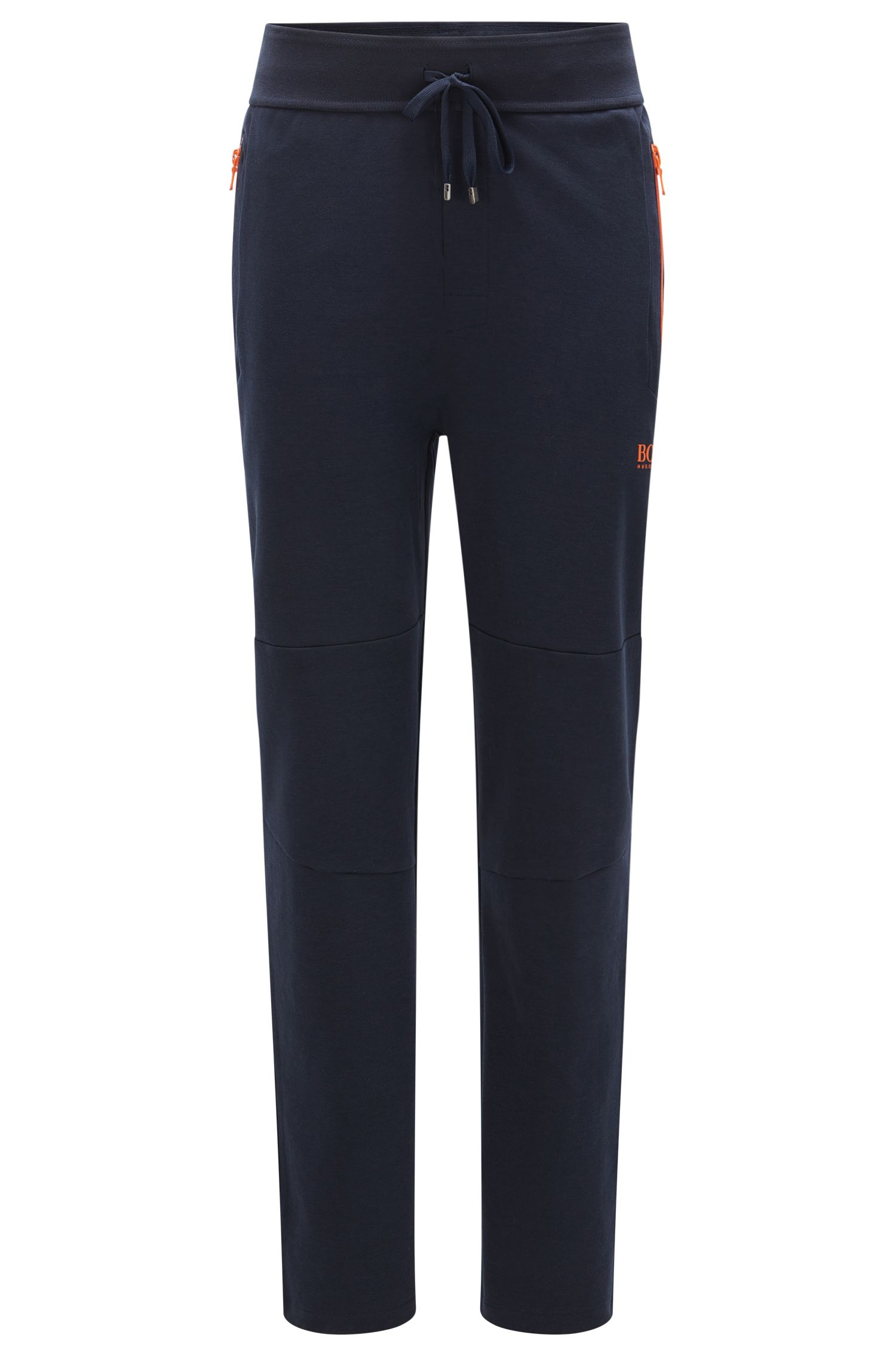 Tracksuit bottoms in cotton blend with contrasting colour zips: 'Long Pant'