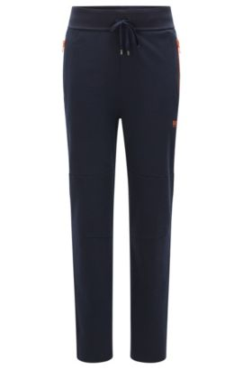 Tracksuit bottoms in cotton blend with contrasting colour zips: 'Long Pant', Dark Blue