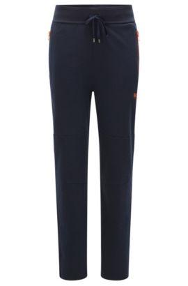 Sweatbroek van een katoenmix met contrasterende ritssluitingen: 'Long Pant', Donkerblauw