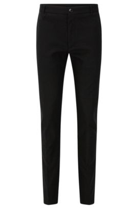 Slim-fit trousers in textured stretch cotton: 'Heldor2', Black