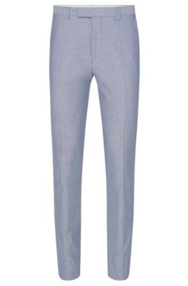 Mottled slim-fit trousers in stretch cotton: 'Heilon', Turquoise