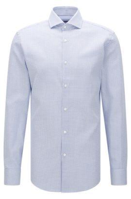 Chemise Slim Fit à motif en coton: «Jason», Bleu