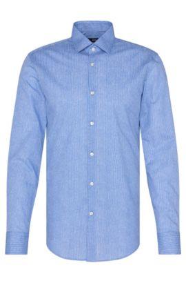Camisa slim fit de puntos en algodón: 'Jenno', Azul