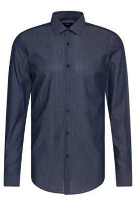 Gemustertes Slim-Fit Hemd aus Baumwolle: 'Jenno', Dunkelblau