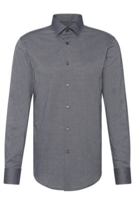 Patterned slim-fit shirt in cotton: 'Jenno', Dark Grey