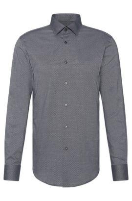 Chemise Slim Fit à motif en coton: «Jenno», Noir