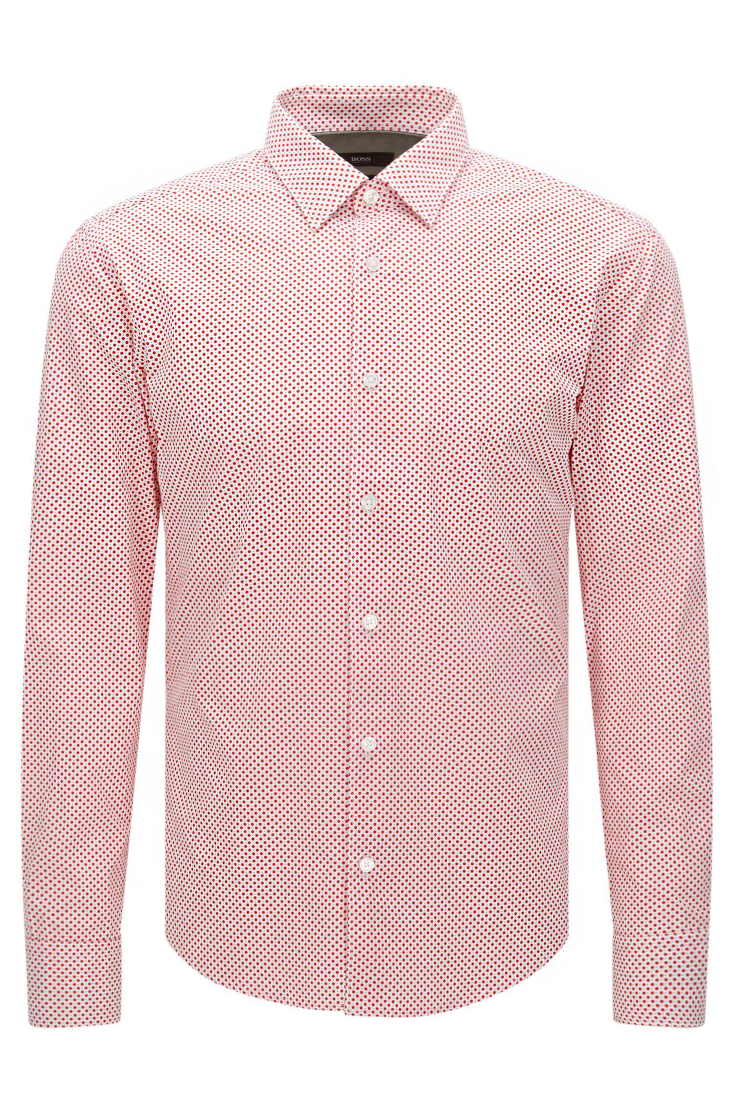 Gestippeld slim-fit overhemd van katoen: 'Reid_48F'