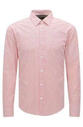 Gestippeld slim-fit overhemd van katoen: 'Reid_48F', Rood