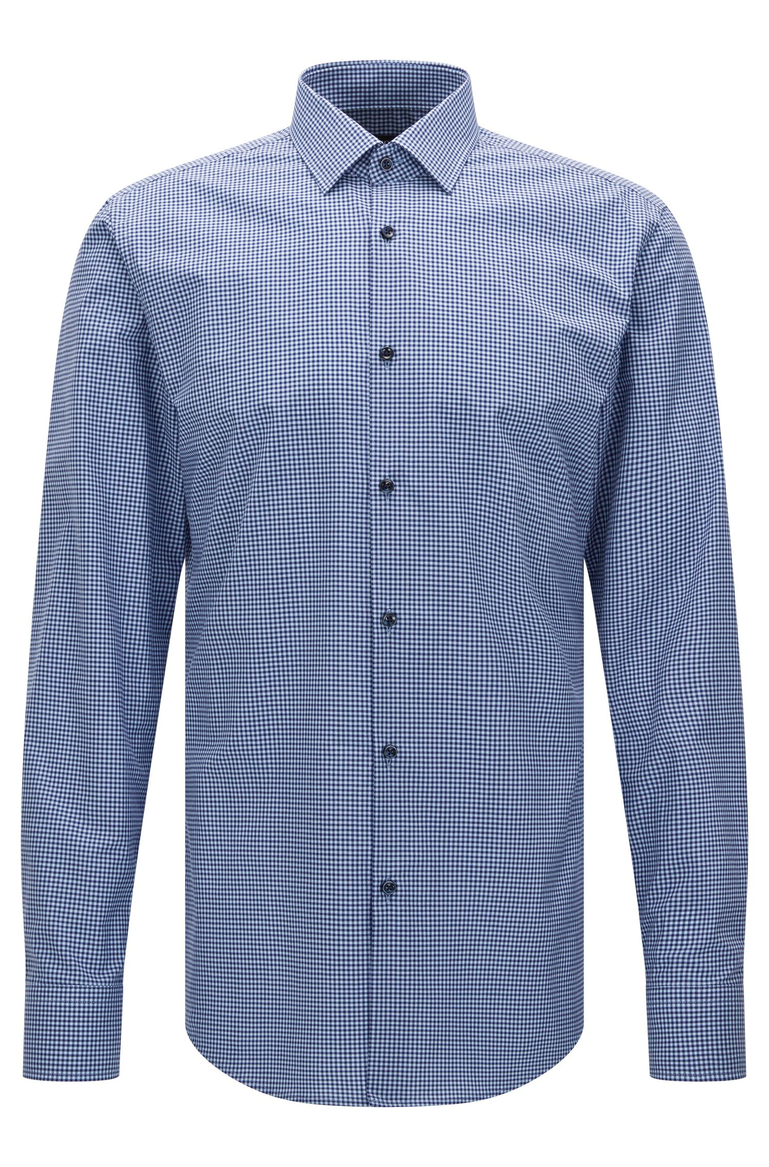 Checked slim-fit shirt in Egyptian cotton: 'Jenno'