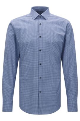 Checked slim-fit shirt in Egyptian cotton: 'Jenno', Blue