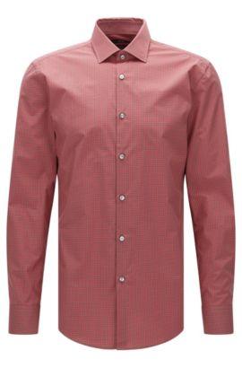 Camicia slim fit a quadri in cotone egiziano: 'Jenno', Rosso