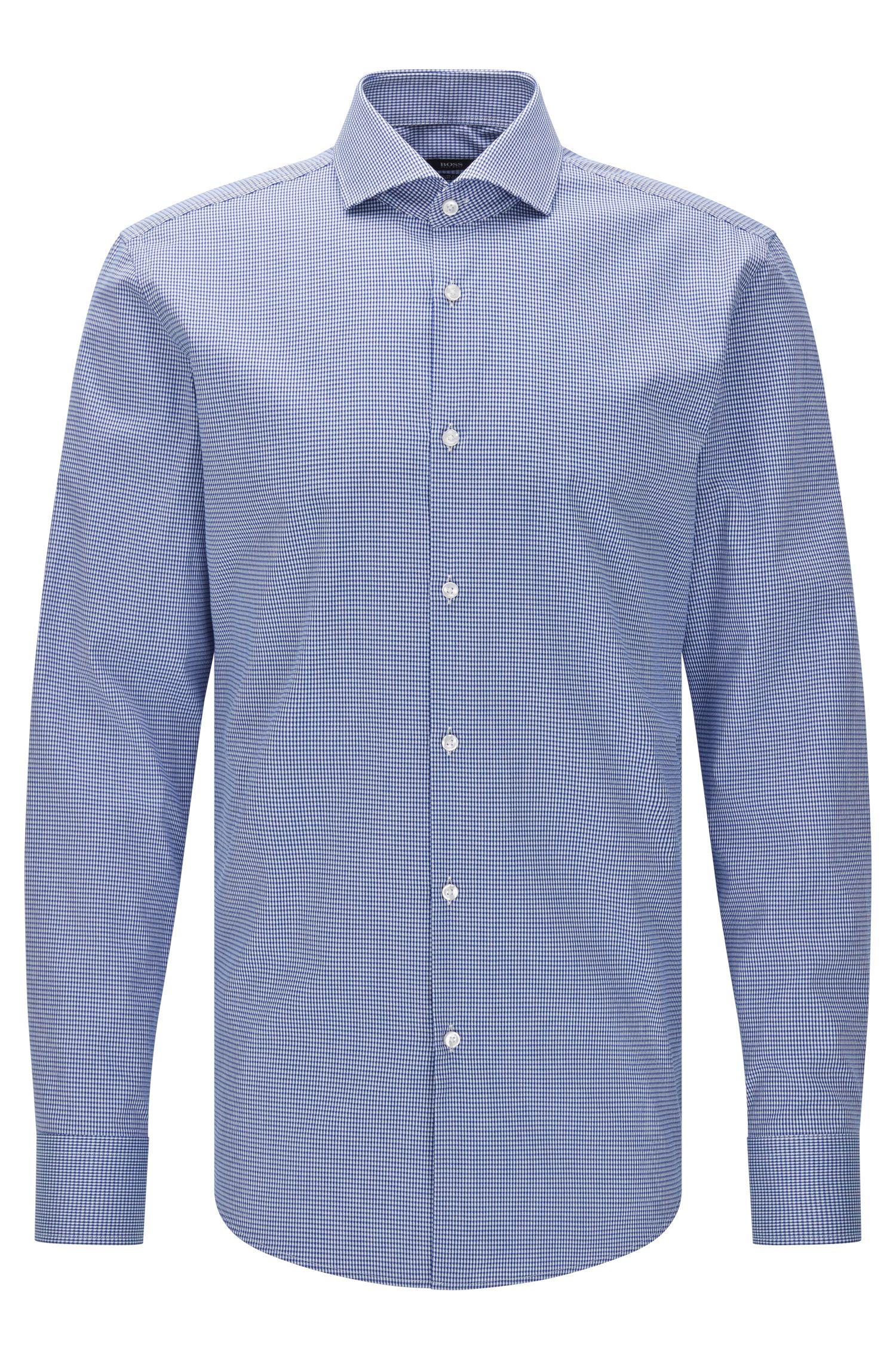 Gemustertes Slim-Fit Hemd aus ägyptischer Baumwolle: 'Jason'