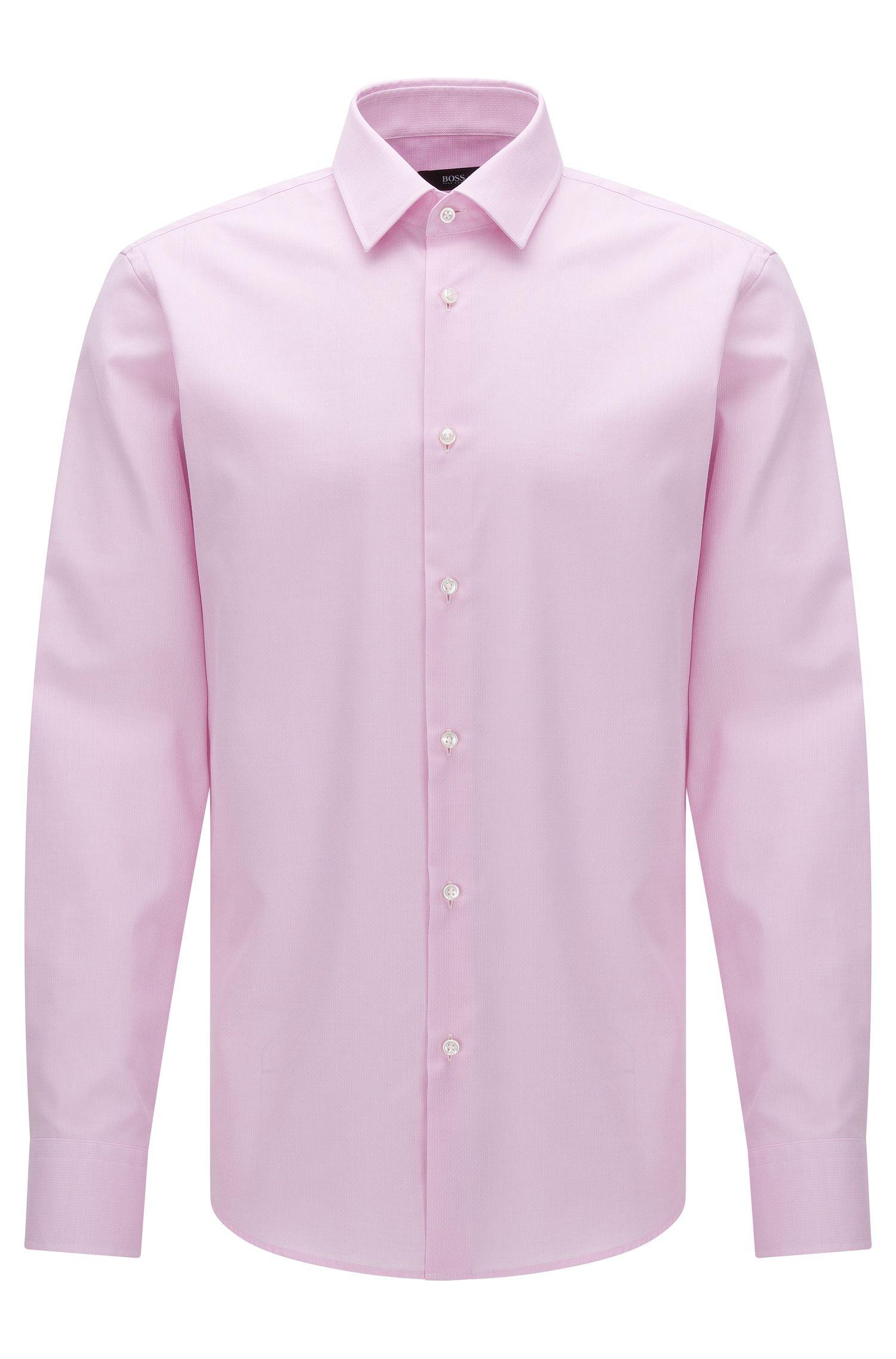 Regular-fit overhemd van gestructureerde katoen uit de Travel Line-collectie: 'Enzo'