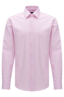 Regular-fit Travel Line shirt in textured cotton: 'Enzo', light pink