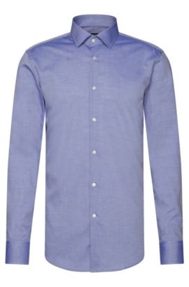 Slim-fit Travel Line shirt in breathable cotton: 'Jenno', Dark Blue
