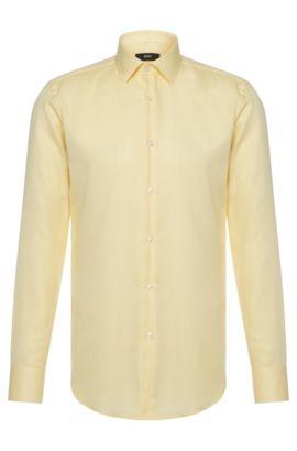 Bügelfreies Travel Line Slim-Fit Hemd aus Baumwolle: 'Jenno', Gelb