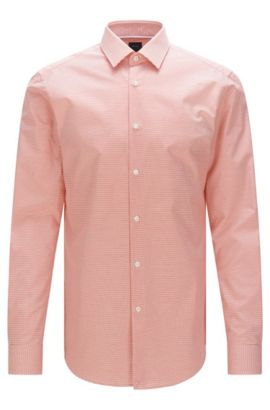 Chemise Slim Fit Tailored en coton structuré : « T-Scott », Rouge