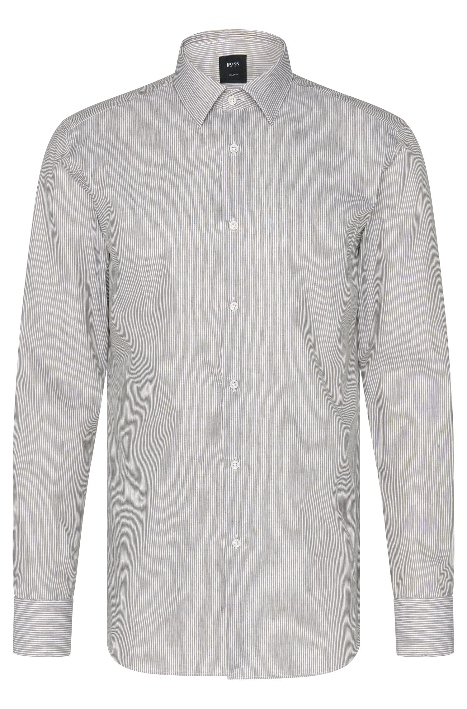Slim-fit Tailored shirt in linen blend with cotton: 'T-Clint'