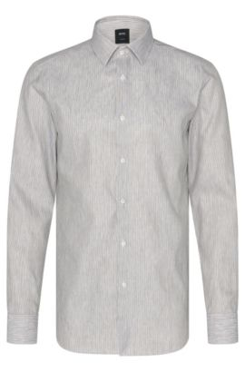 Camicia Tailored slim fit in misto lino e cotone: 'T-Clint', Verde scuro