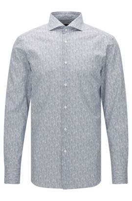 Camicia Tailored slim fit in cotone a disegni: 'T-Christo', Blu scuro