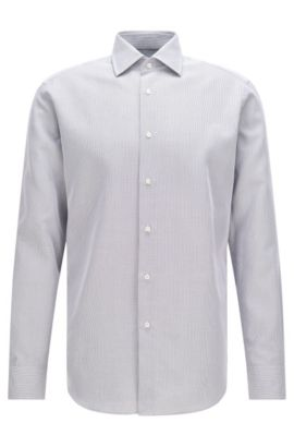 Chemise Regular Fit Tailored en coton : « T-Stuart », Gris sombre