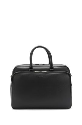 Spacious leather holdall: 'Signature_Hold 24', Black