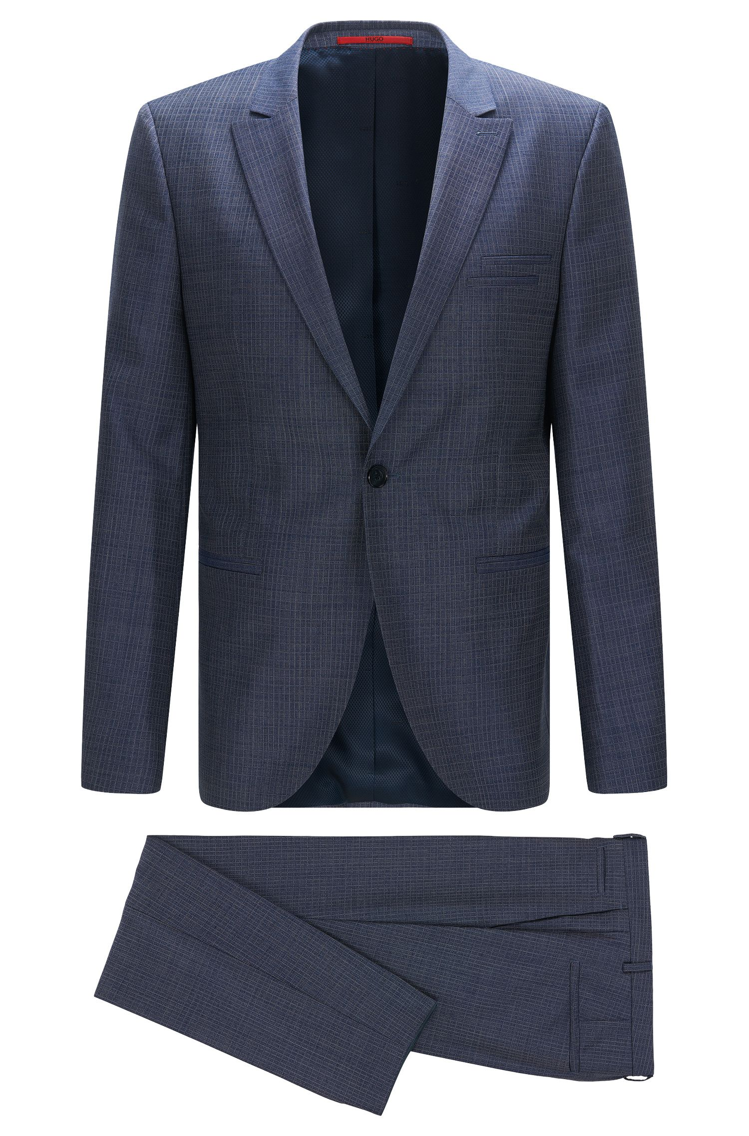 Slim-fit kostuum van gestructureerde scheerwol met peak-revers: 'Auert/Himyn'