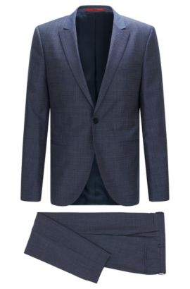 Slim-fit suit in textured new wool with peak lapel: 'Auert/Himyn', Blue