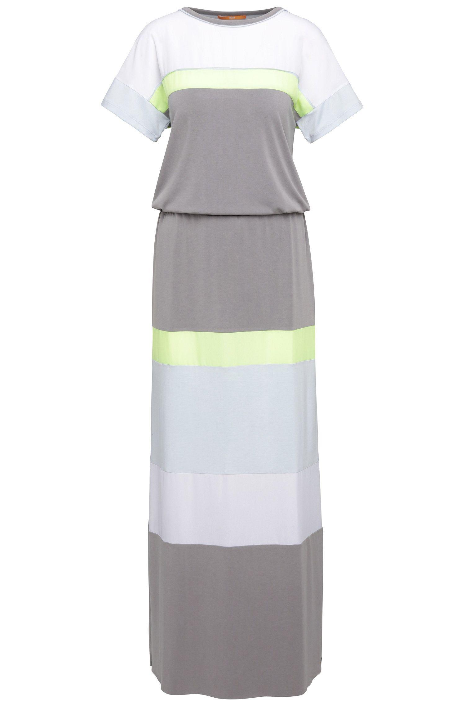 Vestido extragrande a rayas regular fit en mezcla de modal elástico: 'Dablock'