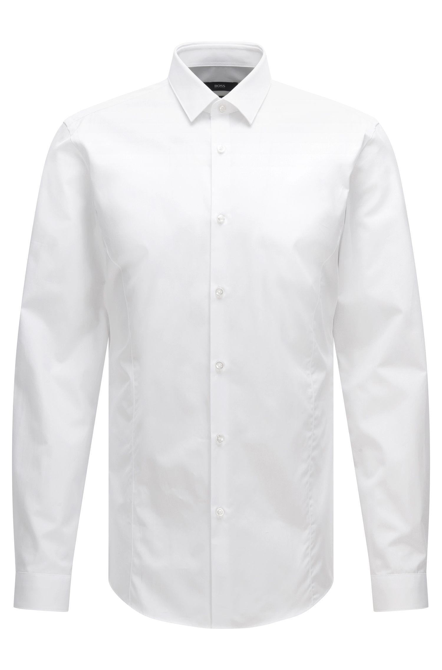 Plain slim-fit shirt in a stretch cotton blend: 'Ilan'
