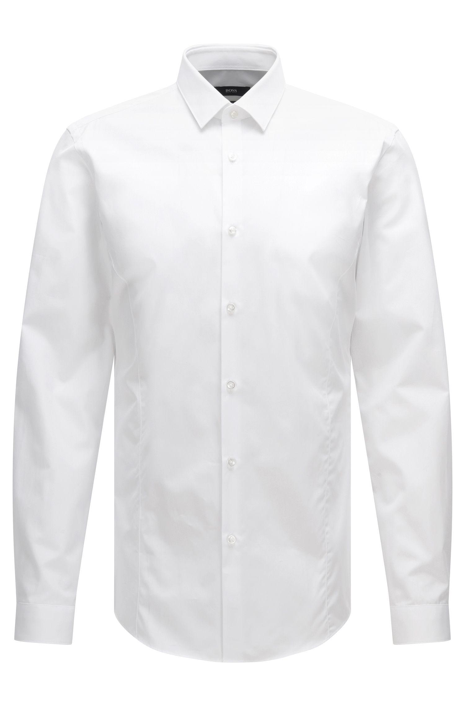 Camisa lisa slim fit en mezcla de algodón elástico: 'Ilan'