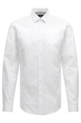 Camicia slim fit in misto cotone elasticizzato in tinta unita: 'Ilan', Bianco