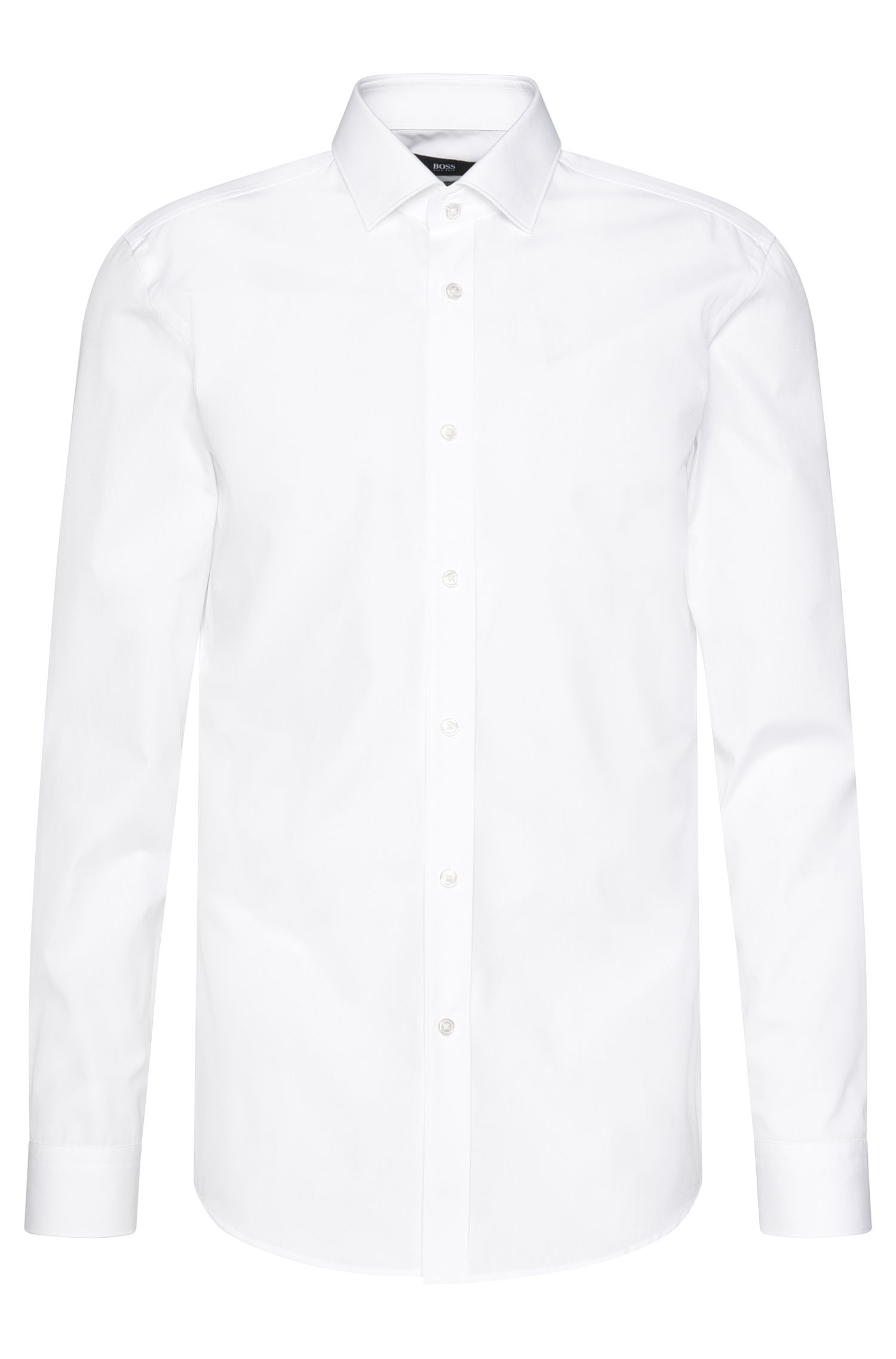 Camicia slim fit in puro cotone in tinta unita: 'Isaak'