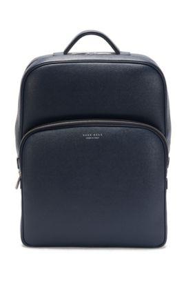 Rucksack aus Palmellato-Leder: 'Signature_B Backpack', Dunkelblau