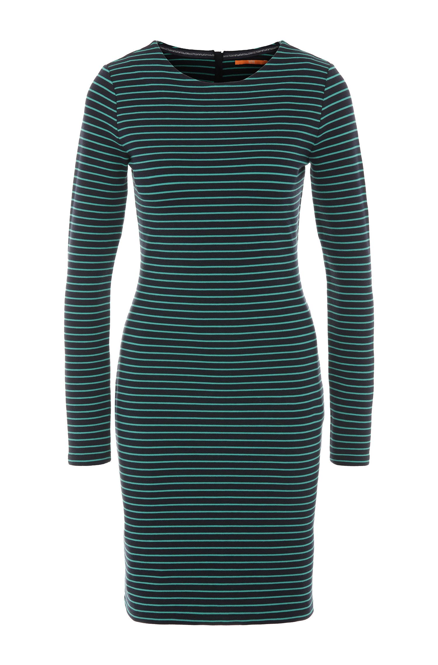 Striped slim-fit jersey dress in a cotton blend with elastane: 'Damarina'