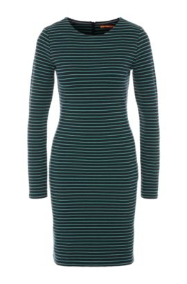 Striped slim-fit jersey dress in a cotton blend with elastane: 'Damarina', Green
