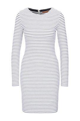 Gestreiftes Slim-Fit Jersey-Kleid aus Baumwoll-Mix mit Elasthan: ´Damarina`, Dunkelblau