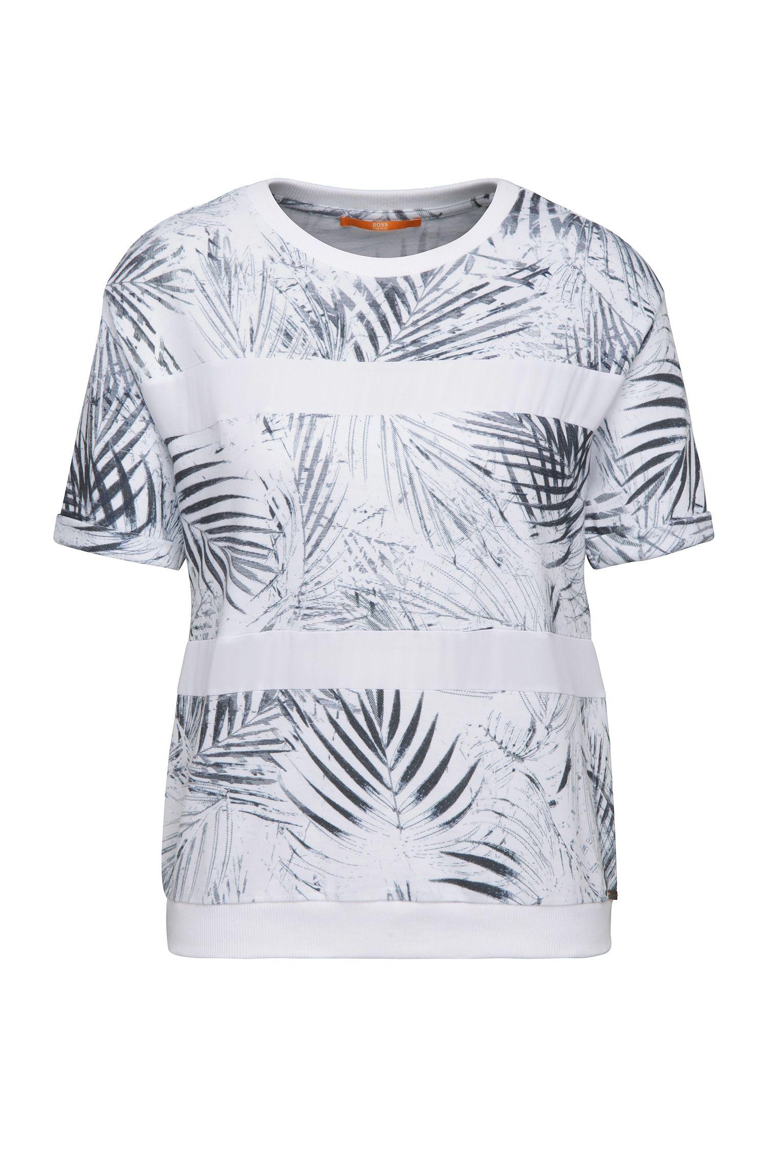 Relaxed-fit sweatshirt van een katoenmix met palmbladprint: 'Tabloom'